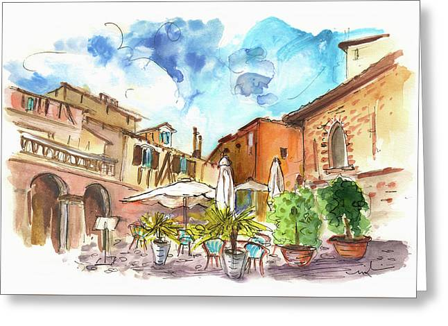 Lovely Street Cafe In Albi Greeting Card by Miki De Goodaboom