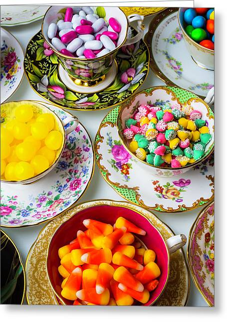 Lovely Tea Cups And Candy Greeting Card by Garry Gay