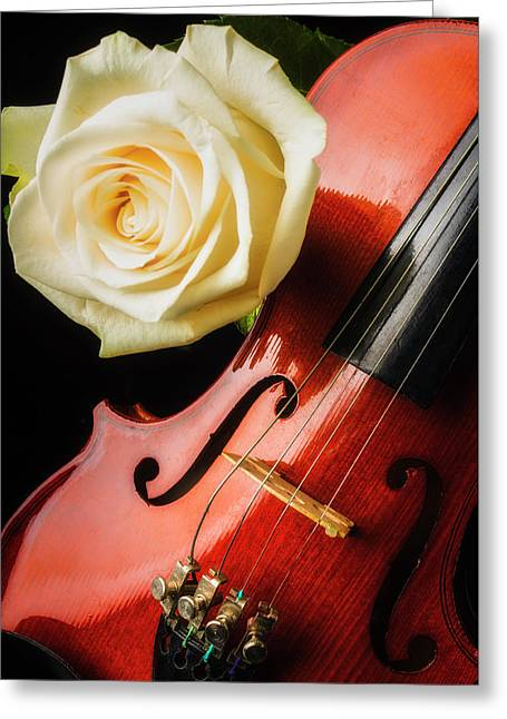 Lovely White Rose And Violin Greeting Card