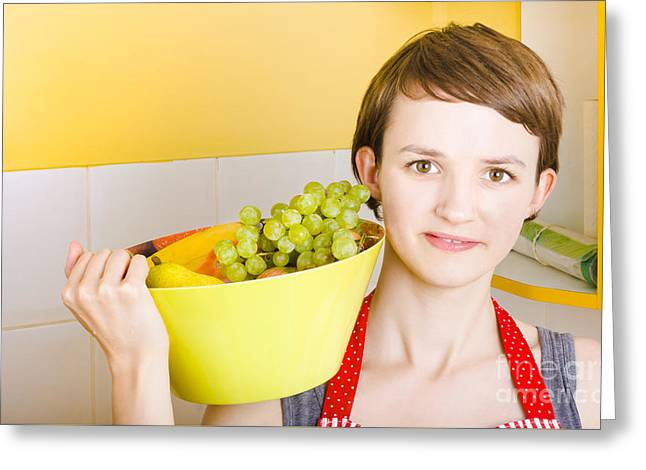 Lovely Young Woman Holding Bowl Of Fruit Salad Greeting Card