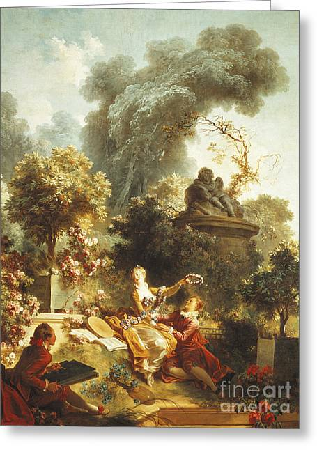 Lover Crowned With Flowers Greeting Card by Jean-Honore Fragonard