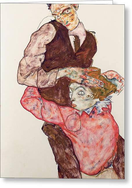 Lovers 1914-15 Greeting Card by Egon Schiele