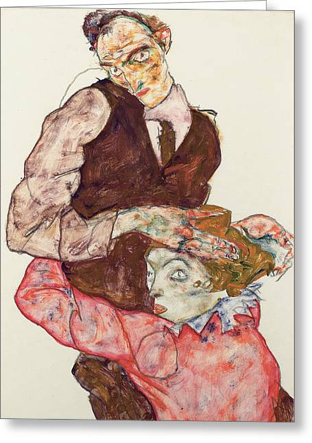 Lovers Greeting Card by Egon Schiele