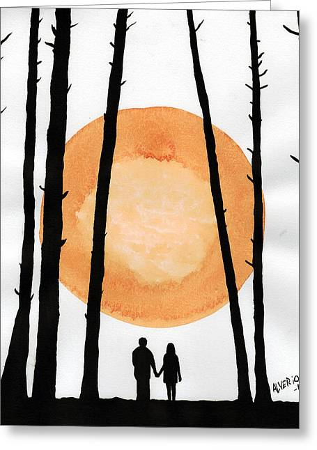 Lovers In Forest Greeting Card by Edwin Alverio