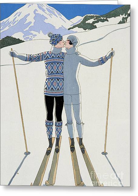 Skiing Poster Greeting Cards - Lovers in the Snow Greeting Card by Georges Barbier