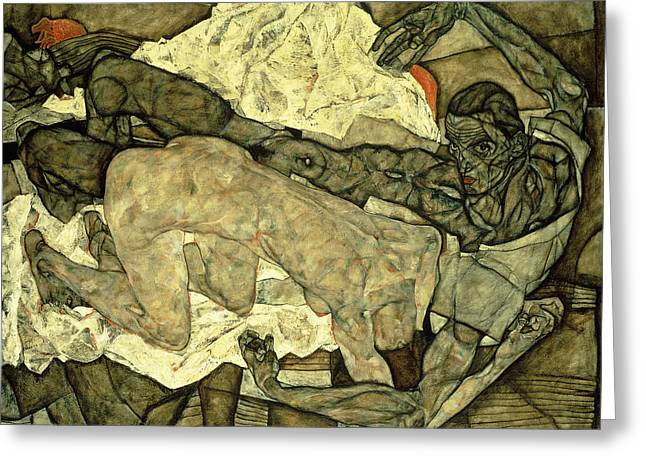 Lovers  Man And Woman I Greeting Card by Egon Schiele