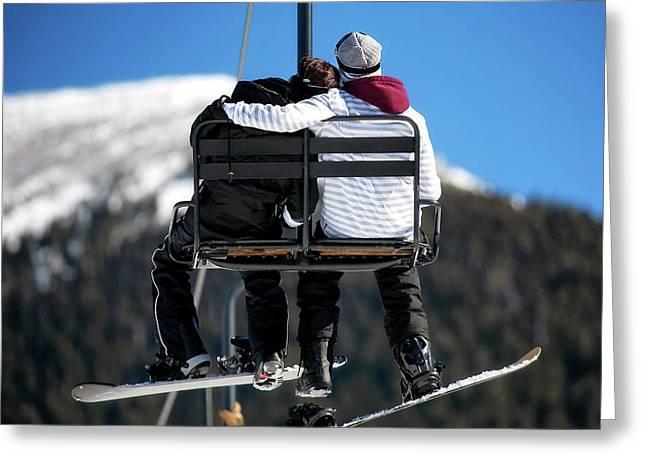 Lovers On Ski Lift Greeting Card