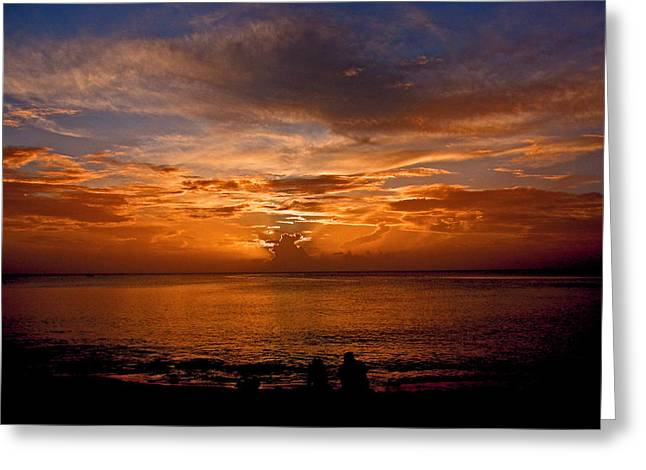 Lovers Sunset Greeting Card by Martin Morehead