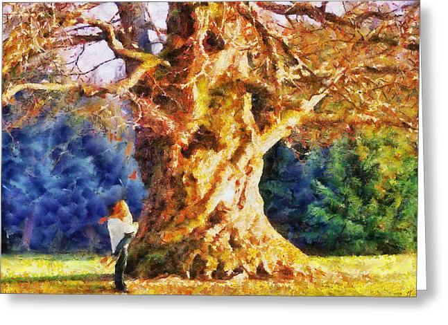 Lovers Tree Greeting Card by Jai Johnson