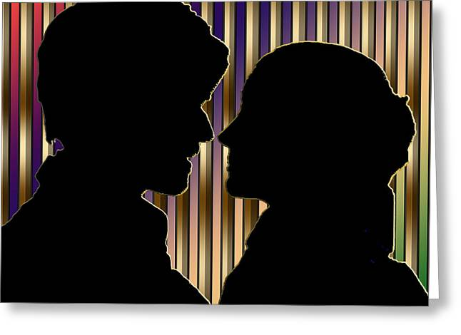 Greeting Card featuring the digital art Loving Couple - Chuck Staley by Chuck Staley
