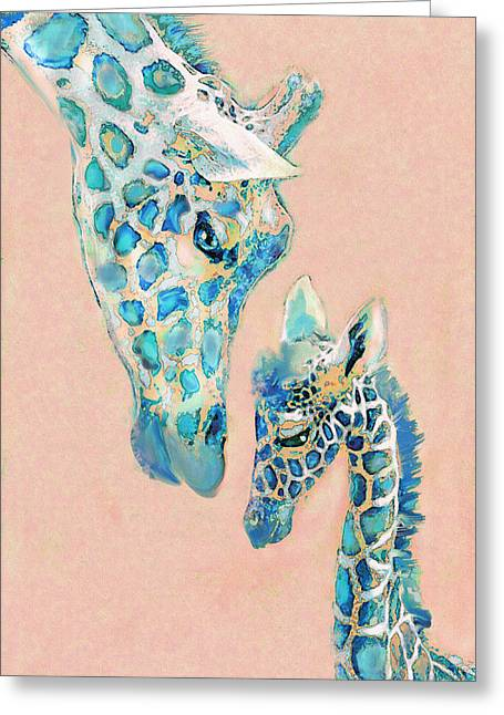 Loving Giraffes Family- Coral Greeting Card by Jane Schnetlage