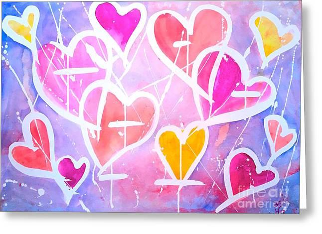 Loving Heart Greeting Card by Wonju H