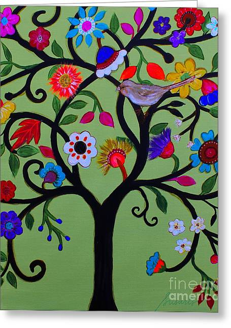 Greeting Card featuring the painting Loving Tree Of Life by Pristine Cartera Turkus