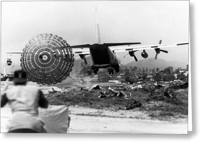 Low Altitude Supplies Greeting Card by Underwood Archives