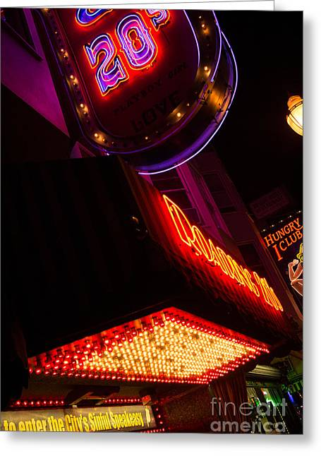 Greeting Card featuring the photograph Low Angle Neon Signs At Night In North Beach San Francisco by Jason Rosette