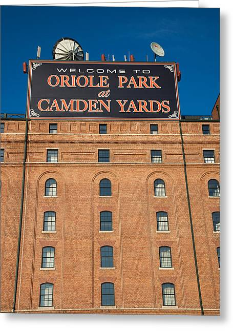 Low Angle View Of A Baseball Park Greeting Card