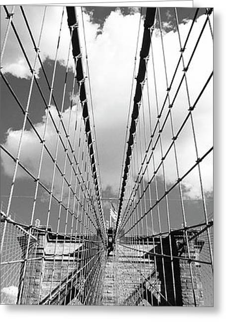 Low Angle View Of A Bridge, Brooklyn Bridge, Manhattan, New York City, New York State, Usa Greeting Card