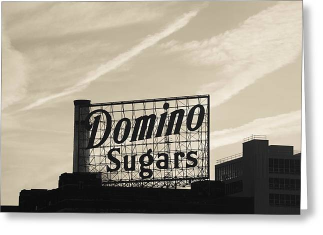 Low Angle View Of Domino Sugar Sign Greeting Card by Panoramic Images