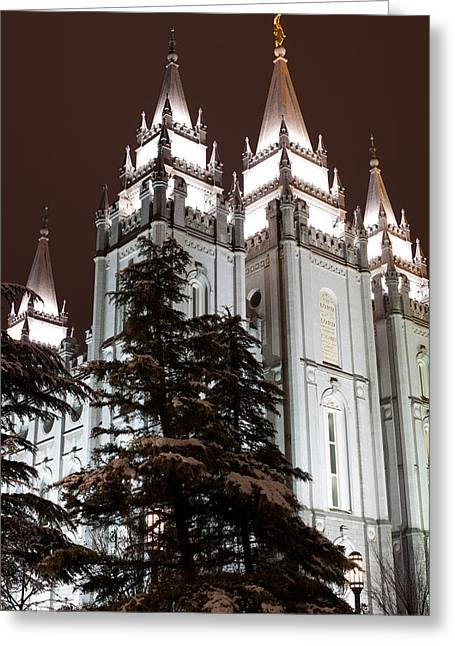 Low Angle View Of The Mormon Temple Greeting Card