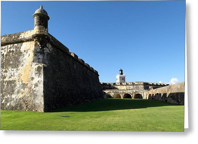 Low Angle View Of The Walls Of The San Felipe Del Morro Fort Greeting Card by George Oze