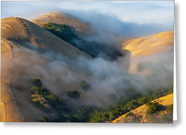 Low Clouds Between Hills Greeting Card