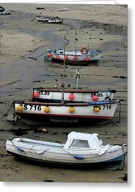 Low Tide At St. Ives Harbor Greeting Card by Carol Kinkead