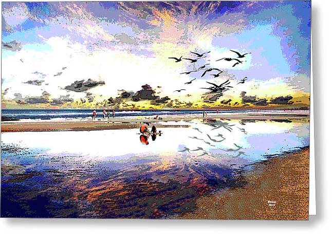 Low Tide At Sunset Greeting Card by Charles Shoup