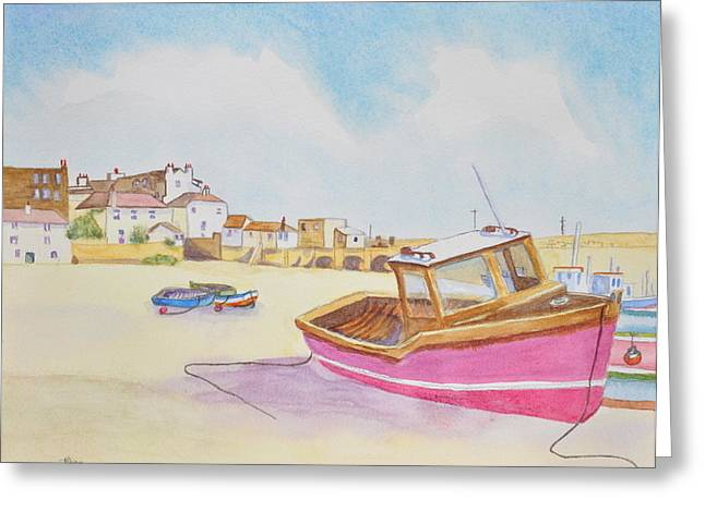 Low Tide Boat On The Beach Greeting Card by Jonathan Galente