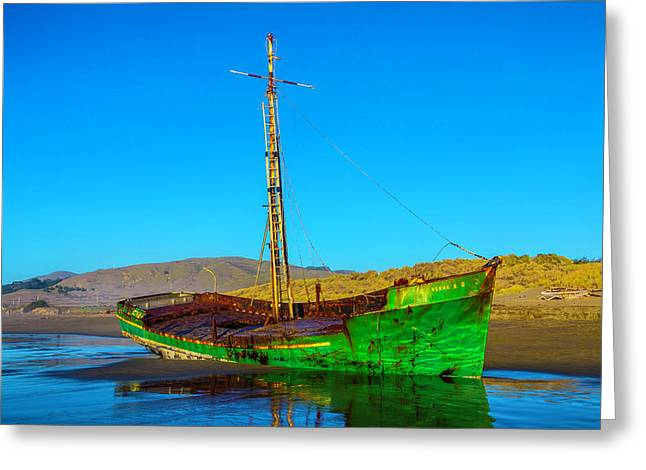 Low Tide Green Fishing Boat Greeting Card