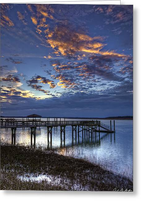 Low Tide Long Dock Greeting Card by Phill Doherty