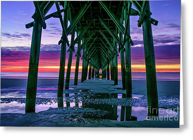 Greeting Card featuring the photograph Low Tide Pier by DJA Images