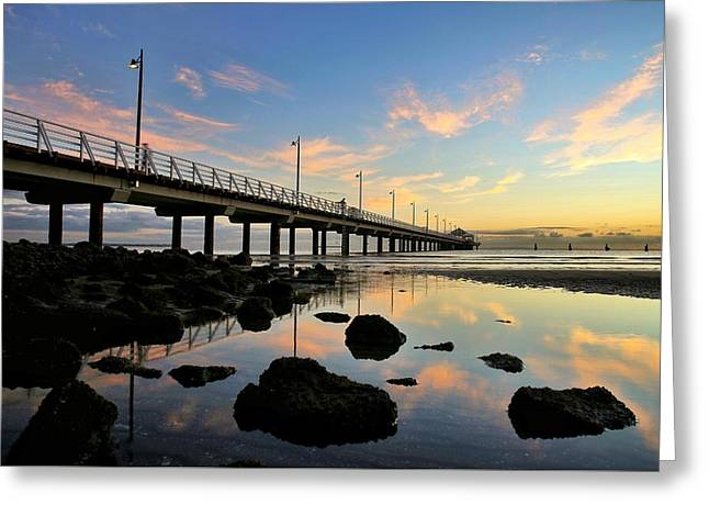 Low Tide Reflections At The Pier  Greeting Card