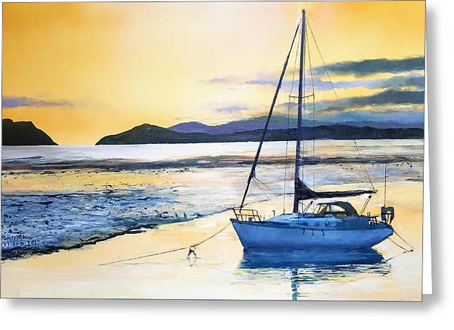 Greeting Card featuring the painting Low Tide by Tim Johnson