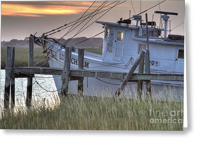 Lowcountry Shrimp Boat Sunset Greeting Card by Dustin K Ryan