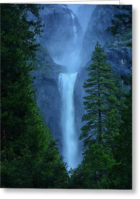 Lower And Middle Yosemite Falls Greeting Card by Raymond Salani III
