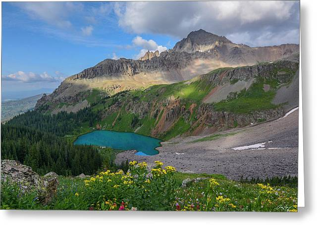 Lower Blue Lake And Mt. Sneffels Greeting Card by Aaron Spong