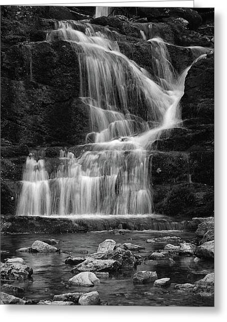 Lower Buttermilk Falls In Black And White Greeting Card by Raymond Salani III