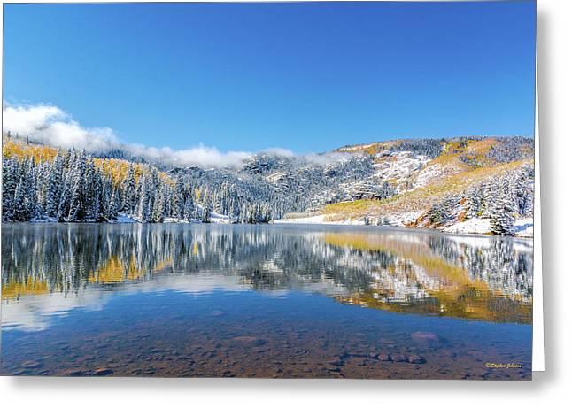 Lower Cataract Lake Fall Snow Scene Greeting Card