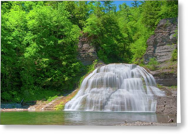 Greeting Card featuring the photograph Lower Falls 0485 by Guy Whiteley