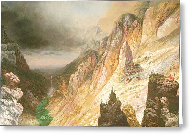 Lower Falls, Grand Canyon Of The Yellowstone River Greeting Card by Charles H Chapin