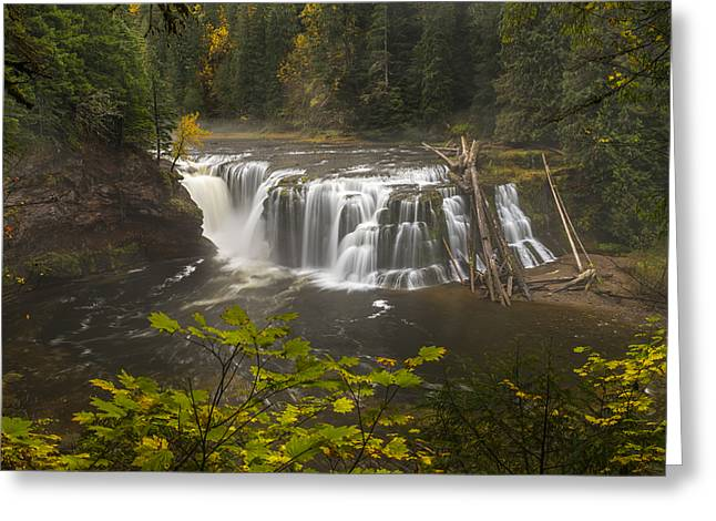 Lower Falls In Autumn Greeting Card by Loree Johnson