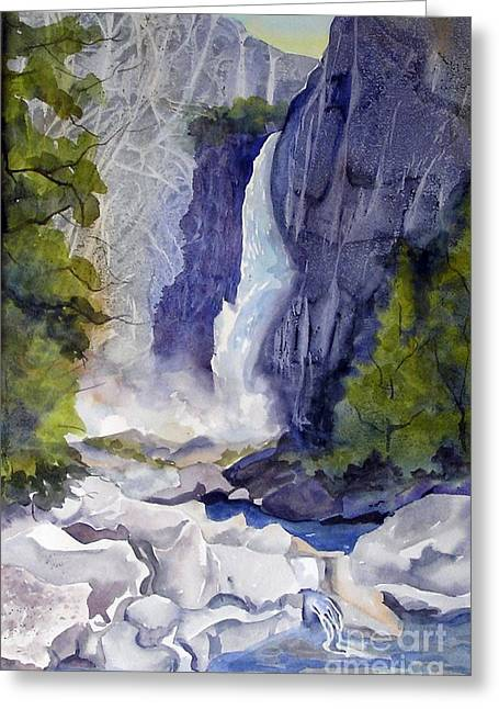 Greeting Card featuring the painting Lower Falls by Pat Crowther
