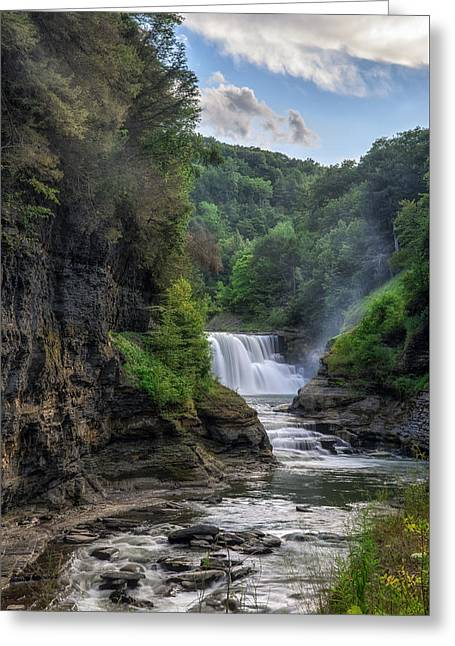 Lower Falls - Summer Greeting Card by Mark Papke