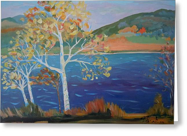 Lower Hadley Pond Greeting Card by Francine Frank