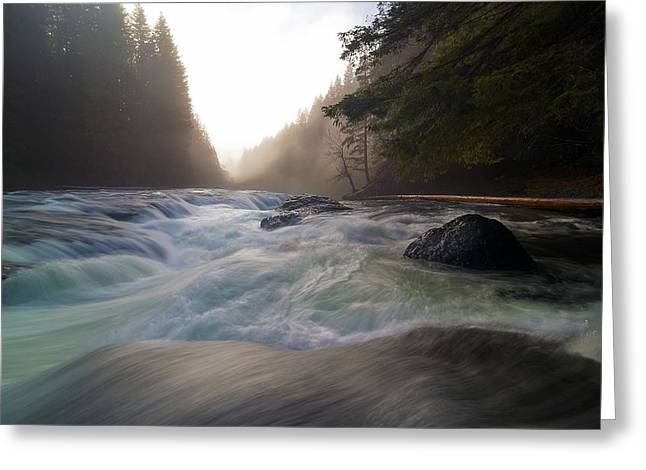 Lower Lewis River Falls During Sunset Greeting Card by David Gn