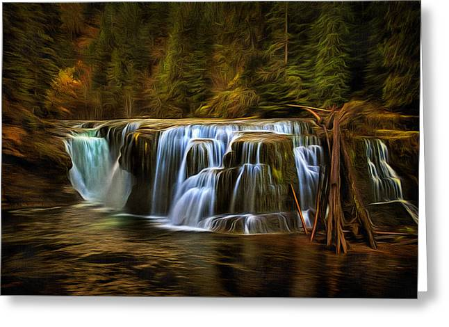 Lower Lewis River Falls In Autumn Greeting Card