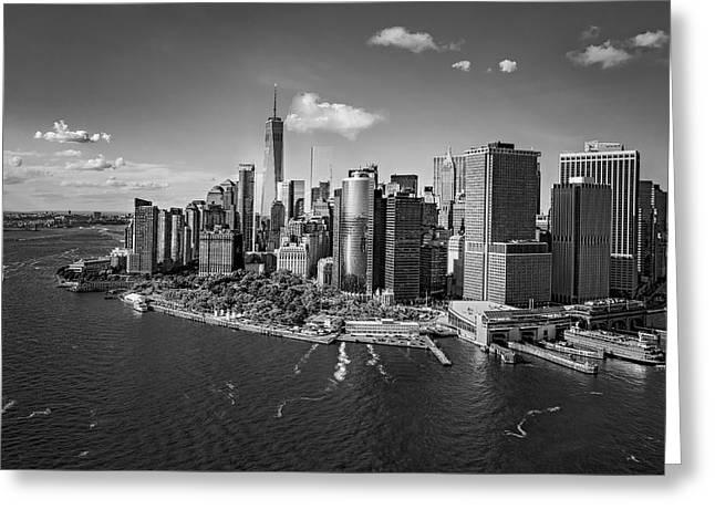 Lower Manhattan Aerial View Bw Greeting Card