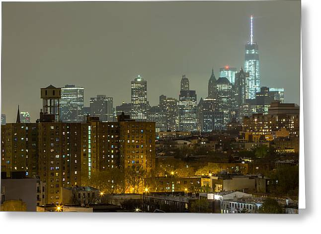 Lower Manhattan Cityscape Seen From Brooklyn Greeting Card