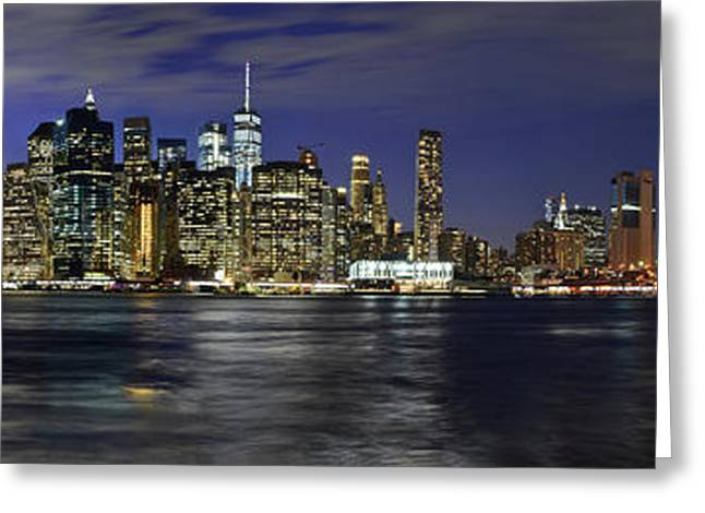 Lower Manhattan From Brooklyn Heights At Dusk - New York City Greeting Card