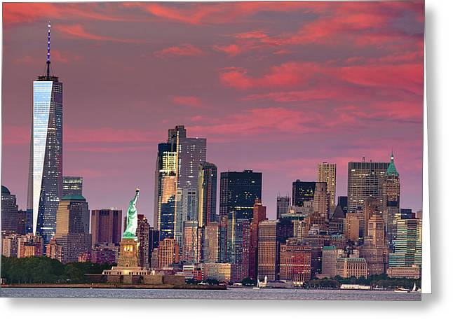 Greeting Card featuring the photograph Lower Manhattan In Pink by Emmanuel Panagiotakis